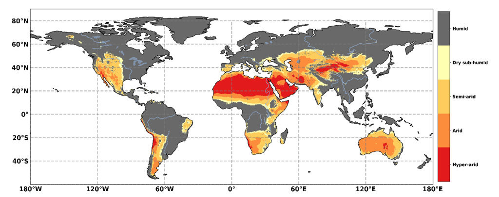 Geographical distribution of drylands, based on the Aridity Index (AI). The classification of AI is: Humid (grey shading) AI > 0.65, dry sub-humid (yellow) 0.50 < AI ≤ 0.65, semi-arid (light orange) 0.20 < AI ≤ 0.50, arid (dark orange) 0.05 < AI ≤ 0.20, and hyper-arid (red) AI < 0.05. Source: Figure 3.1 from the IPCC land report.