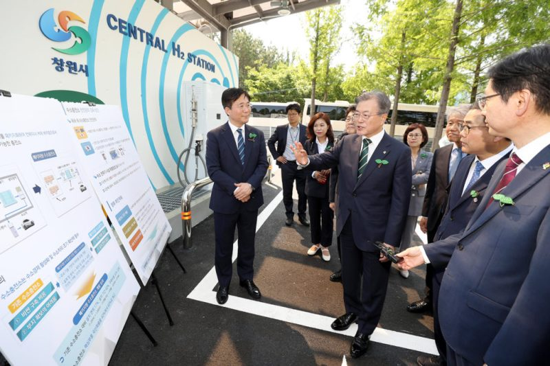 South Korean president Moon Jae-in is briefed on a hydrogen charging station in Changwon on 5 June 2019. Credit: Newscom / Alamy Stock Photo. TC312C