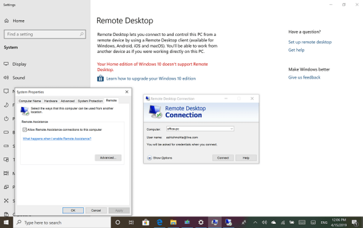 cara remote desktop windows 10