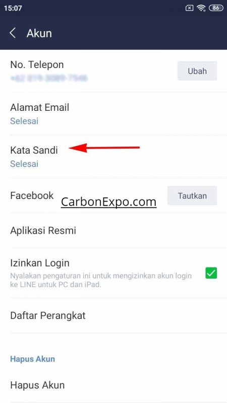 lupa password line di android