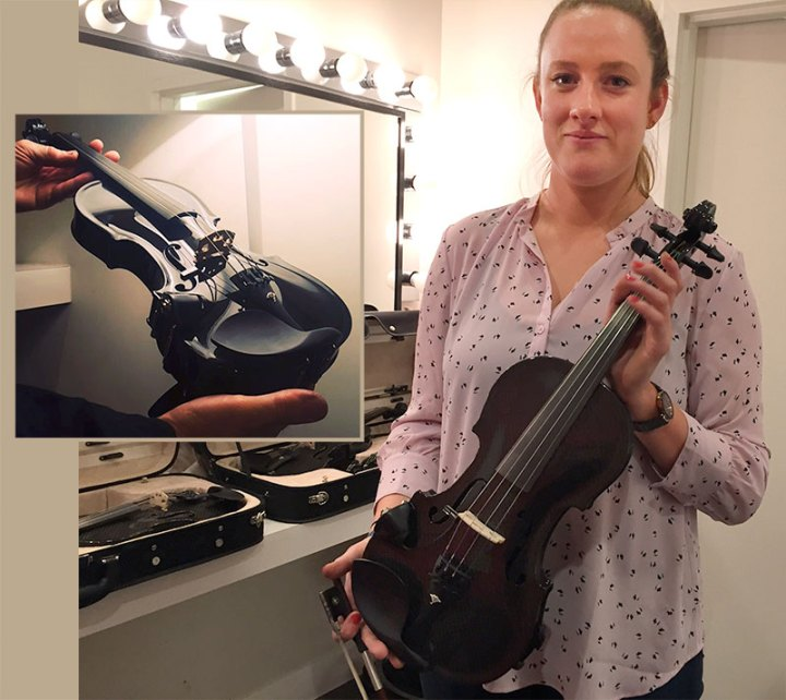 East Coast Fiddler Shannon Quinn Shoes of her new Gayford Carbon Strad