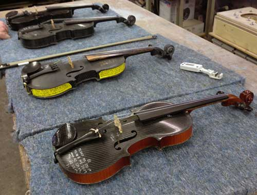 Various test preproduction models of our carbon fiber violin