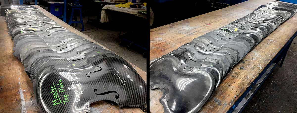 Boby panels used to test the design of our carbon fiber violin