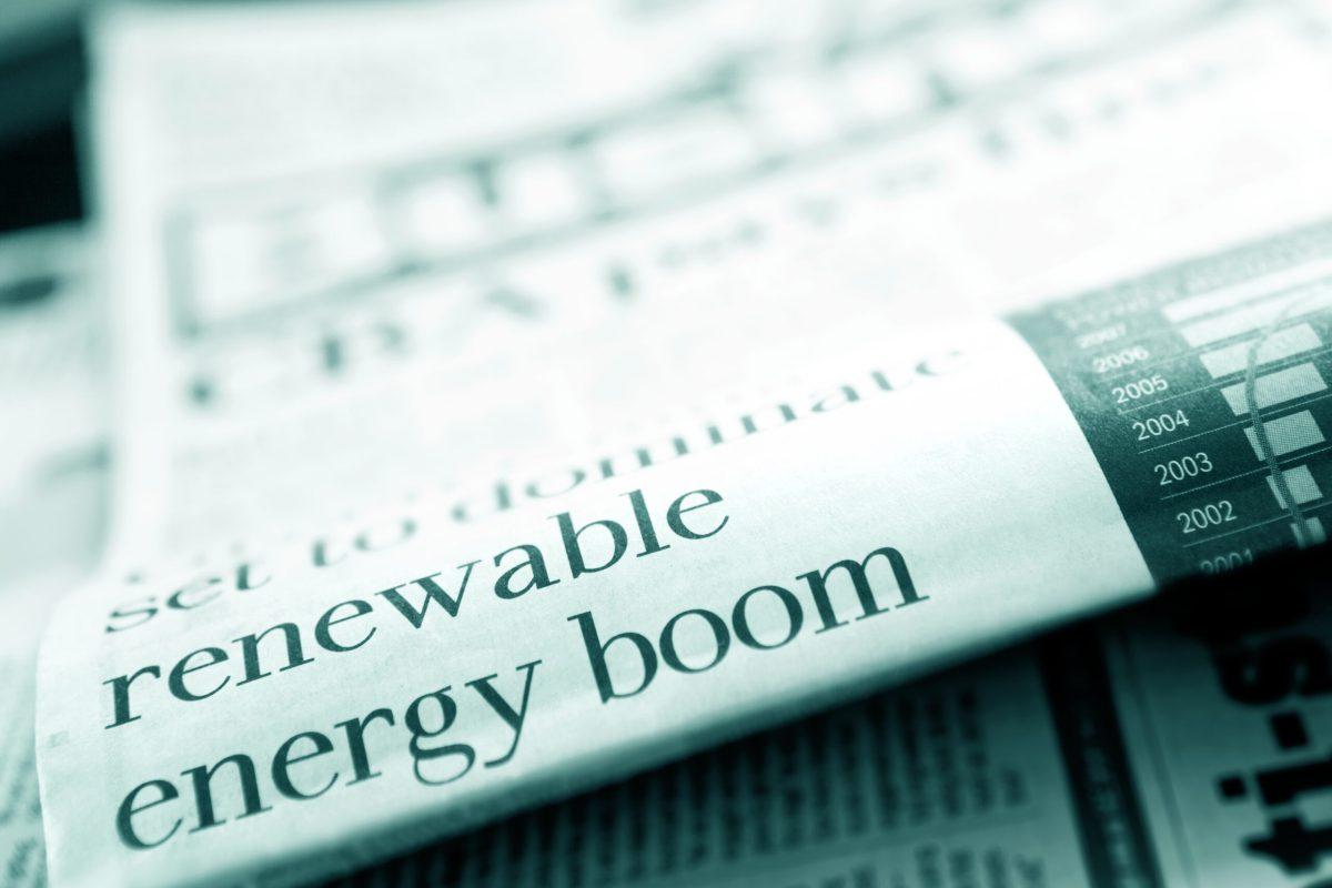 Renewable Energy Boom newspaper headline