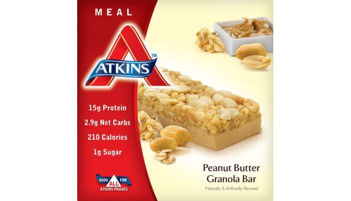 Peanut Butter Granola Bars, Box of 5 Bars, Atkins Nutritionals