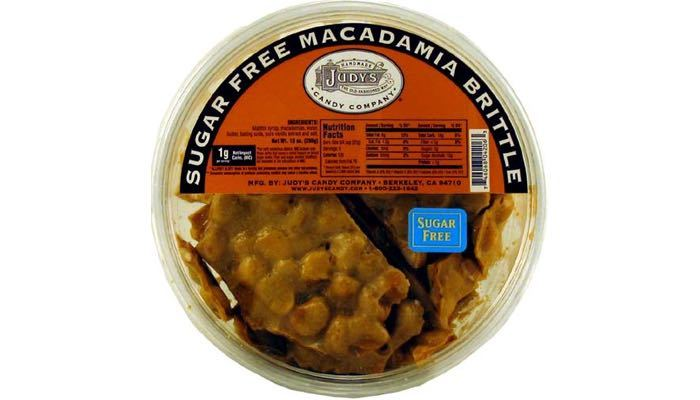 Judy's Candy Co. Sugar Free Macadamia Brittle 10 oz. Tub