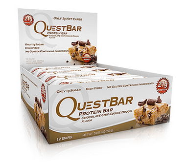 Chocolate Chip Cookie Dough Low Carb Gluten Free 2.12 oz. Protein Bar by Quest Nutrition