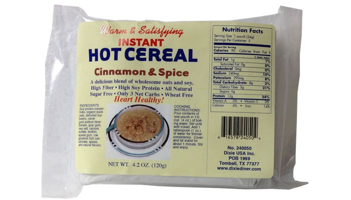 Cinnamon & Spice Instant Hot Cereal 5 pack by Dixie Carb Counters