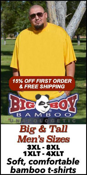 Men's Big & Tall T-Shirts from Big Boy Bamboo