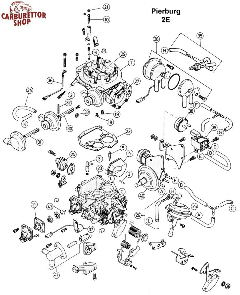 Pierburg 2e carburetor parts and service kits