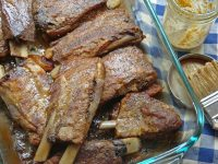 BABY BACK RIBS WITH MUSTARD VINEGAR BARBECUE SAUCE