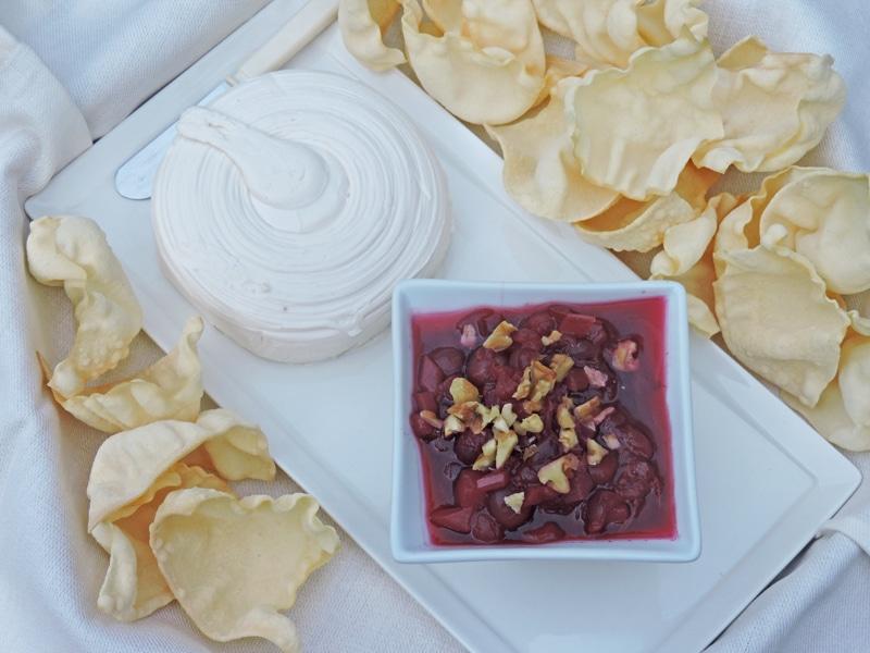 Cranberry chutney with papadams