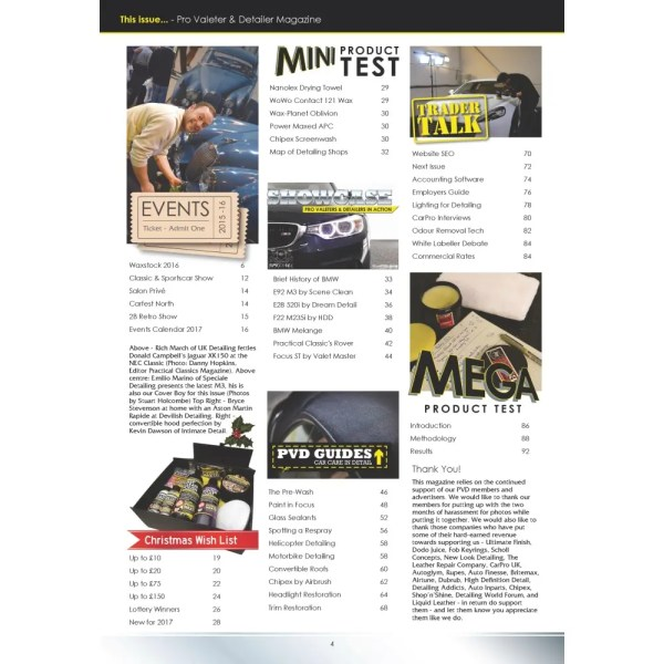 PRO Detailer Magazine - Nr. 4-2016 - Table of Contents