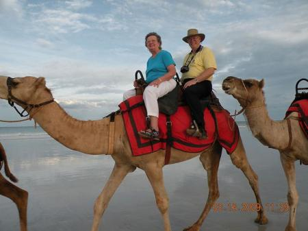 """""""Sunny Susan"""" Anderson and her husband, Howard, on camelback in Australia"""