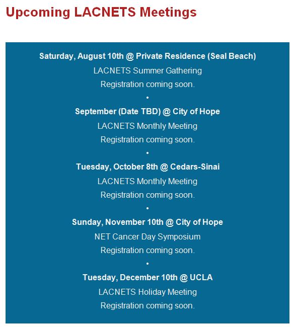 LACNETS 2019 Upcoming Meetings August-Dec
