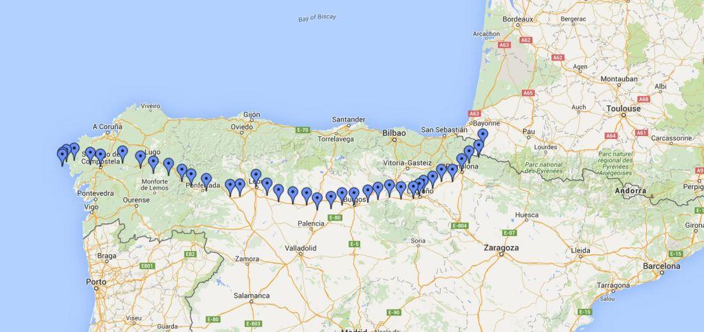 El Camino de Santiago map