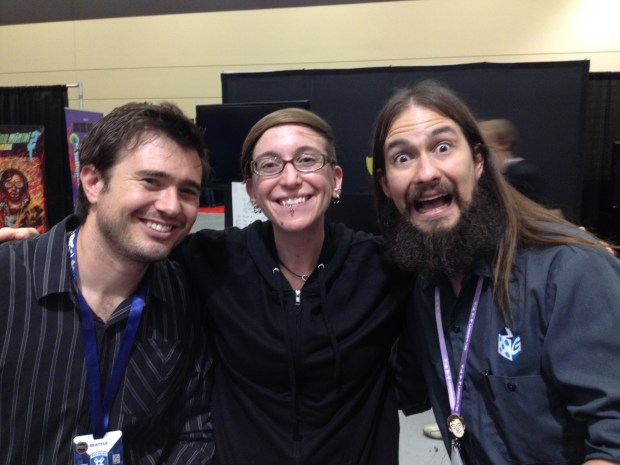 Pocketwatch Games' Andy Schatz, maker of Monaco, and Christopher Badell with Nicole
