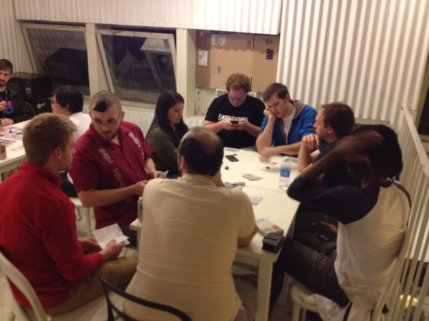 Some post-dinner gaming with the Indie MEGABOOTH tabletoppers, playing Mind the Gap's hilarious zombie game, Z to Z