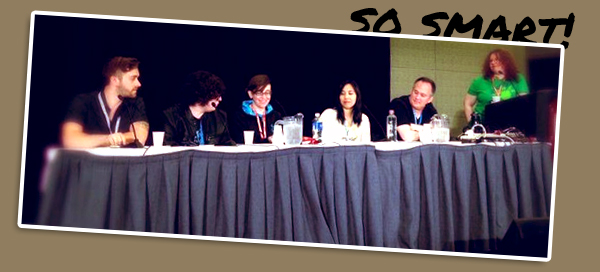 "Me on the ""Adventures in Game Writing"" panel - you can find the video here!"