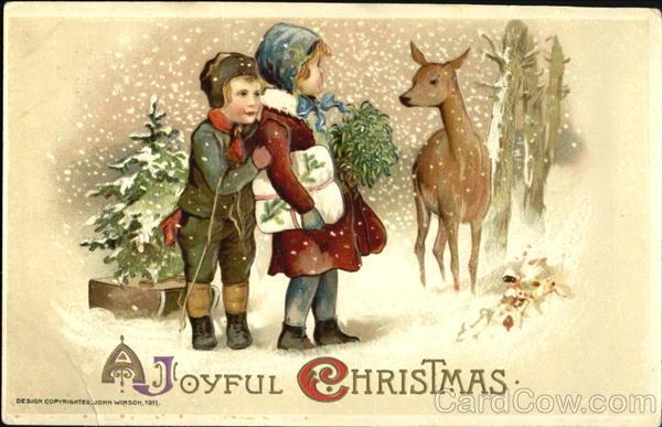 stara kartka bożonarodzeniowa, dzieci w lesie z sarną