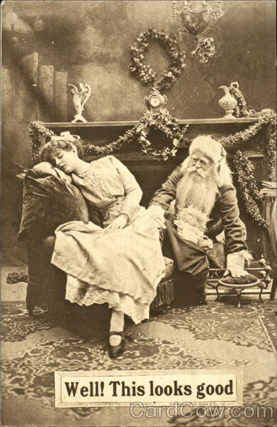 B Amp W Vintage Photo Of Santa And A Sleeping Young Woman