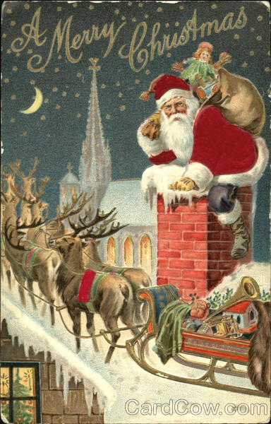 Santa Going Down Chimney Bag Of Toys Reindeers And