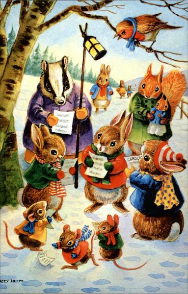 Various Small Animals Caroling Dressed Animals