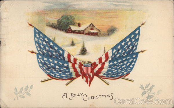 A Jolly Christmas Snowy Winter Scene And American Flags