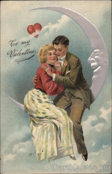 To My Valentine Couple Sitting On Moon Couples