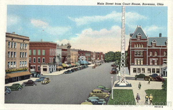 Main Street From Court House Ravenna OH