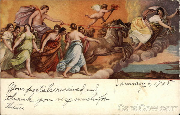 Angel On Chariot Lead By Two Horses And Surrounded By More Angels Postcard