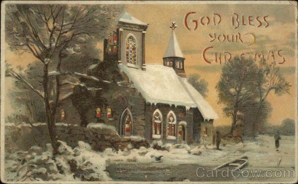 stara kartka bożonarodzeniowa, zaśnieżony kościół na wsi