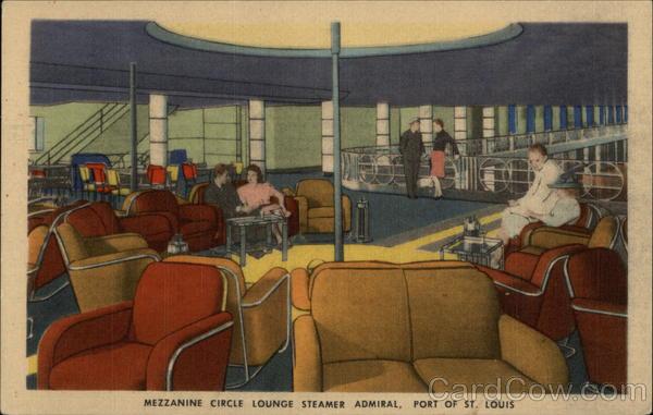 Mezzanine Circle Lounge S S Admiral St Louis MO Postcard