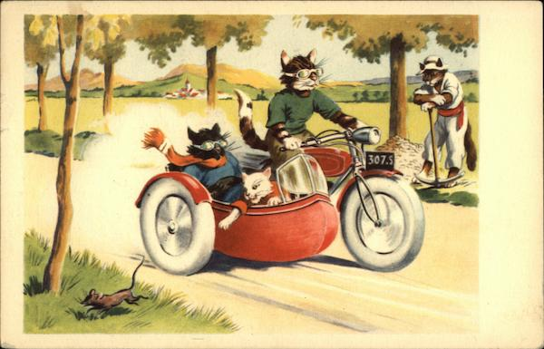 Cats Riding A Motorcycle With Sidecar Postcard