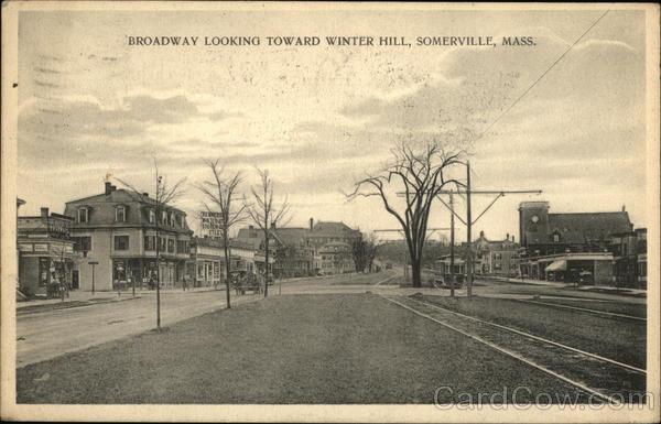 Broadway Looking Toward Winter Hill Somerville MA Postcard