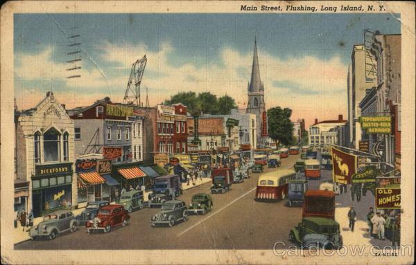 Main Street Long Island Flushing NY Postcard