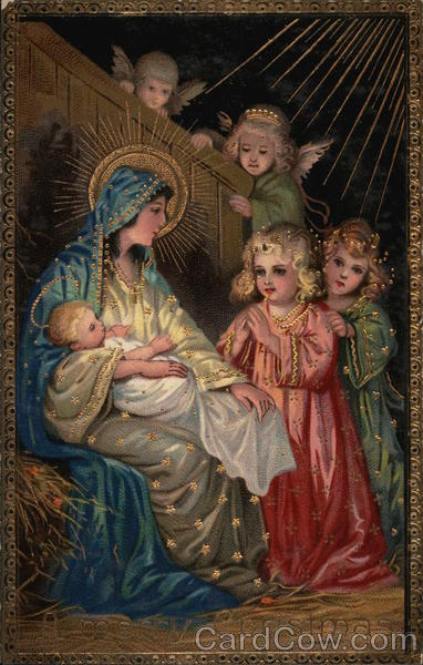 Angels Visiting Mary And Baby Jesus Madonna Amp Child Postcard