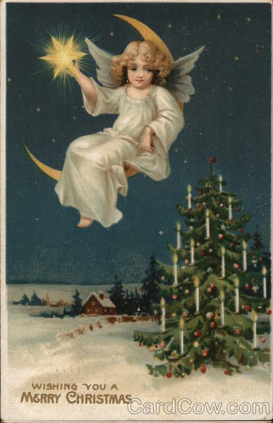 Wishing You A Merry Christmas Angel And Christmas Tree Angels