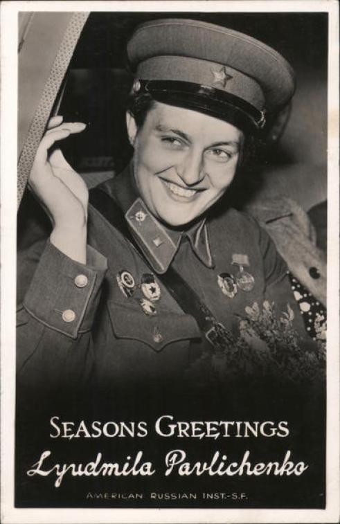 Seasons Greetings Lyudmila Pavlichenko, Soviet Sniper World War II Postcard