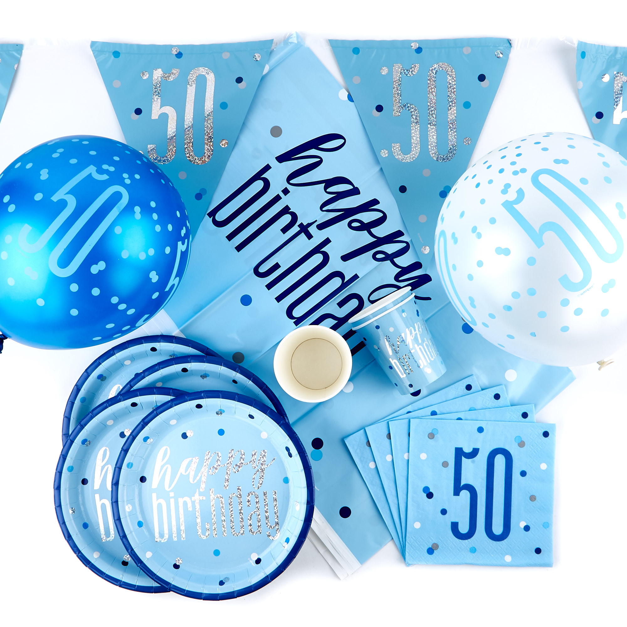 Buy Blue 50th Birthday Party Tableware Decorations Bundle 78 Pieces For Gbp 18 99 Card Factory Uk