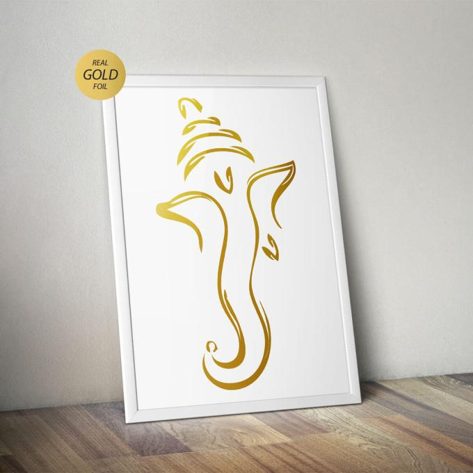 Ganesh Wall Art, Gold Foiled (GFW16)