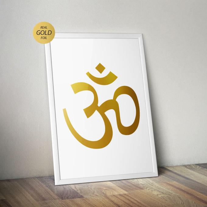 Om Wall Art, Gold Foiled Poster (OM1)