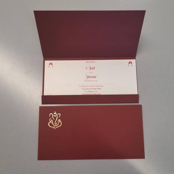 Burgundy Hindu wedding card - envelope and inside view
