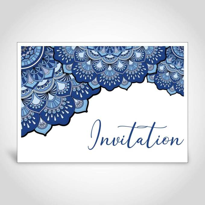 Blue Mandala Design Indian Wedding Card – CF161
