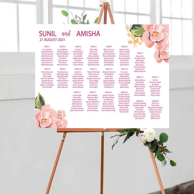 A floral themed wedding seating chart showing the names of the tables along with the guests' names.