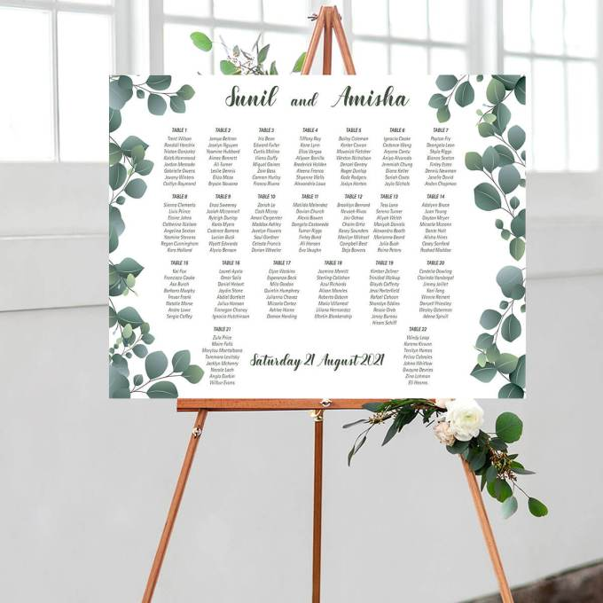 Floral Wedding Seating Chart, Eucalyptus Leaves – 12