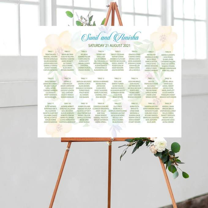 A summer themed floral watermarked wedding seating chart