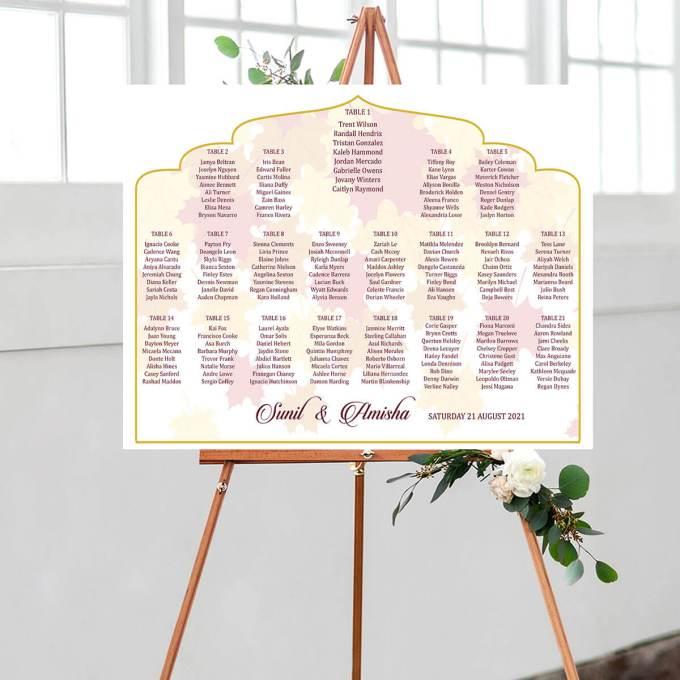 Leaf Background Wedding Seating Chart, Arch Cut – 1