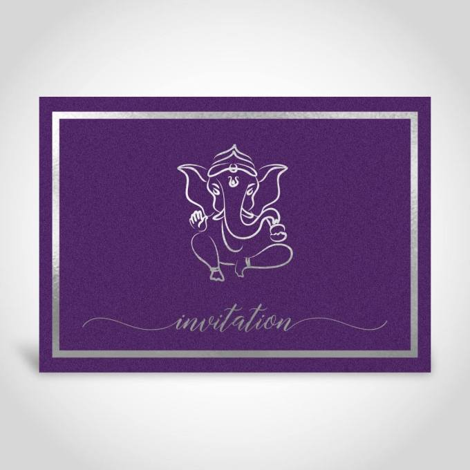 Hindu Wedding Card – Deep Purple card with Silver foiling – CFK166
