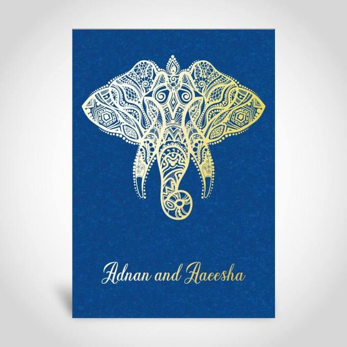 Blue Muslim Wedding Card – CFM103